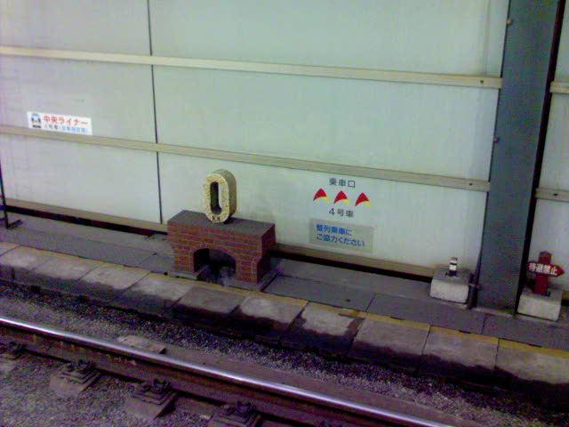 東京駅の0のモニュメント